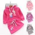 2017 Kids 2PCS Sports Clothng Set Autumn Winter Girls Hooded Jacket+Dress Set Children Cartoon Pig Clothing Suit  Free Shipping