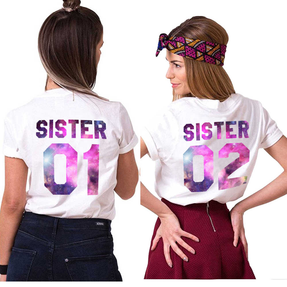 official shop clearance prices clear and distinctive Gift for Sister Matching Sister 01 02 Shirts Girls Bff T-Shirt Femme Tumblr  Women Summer Clothes T Shirt Cotton Best Friend Tees