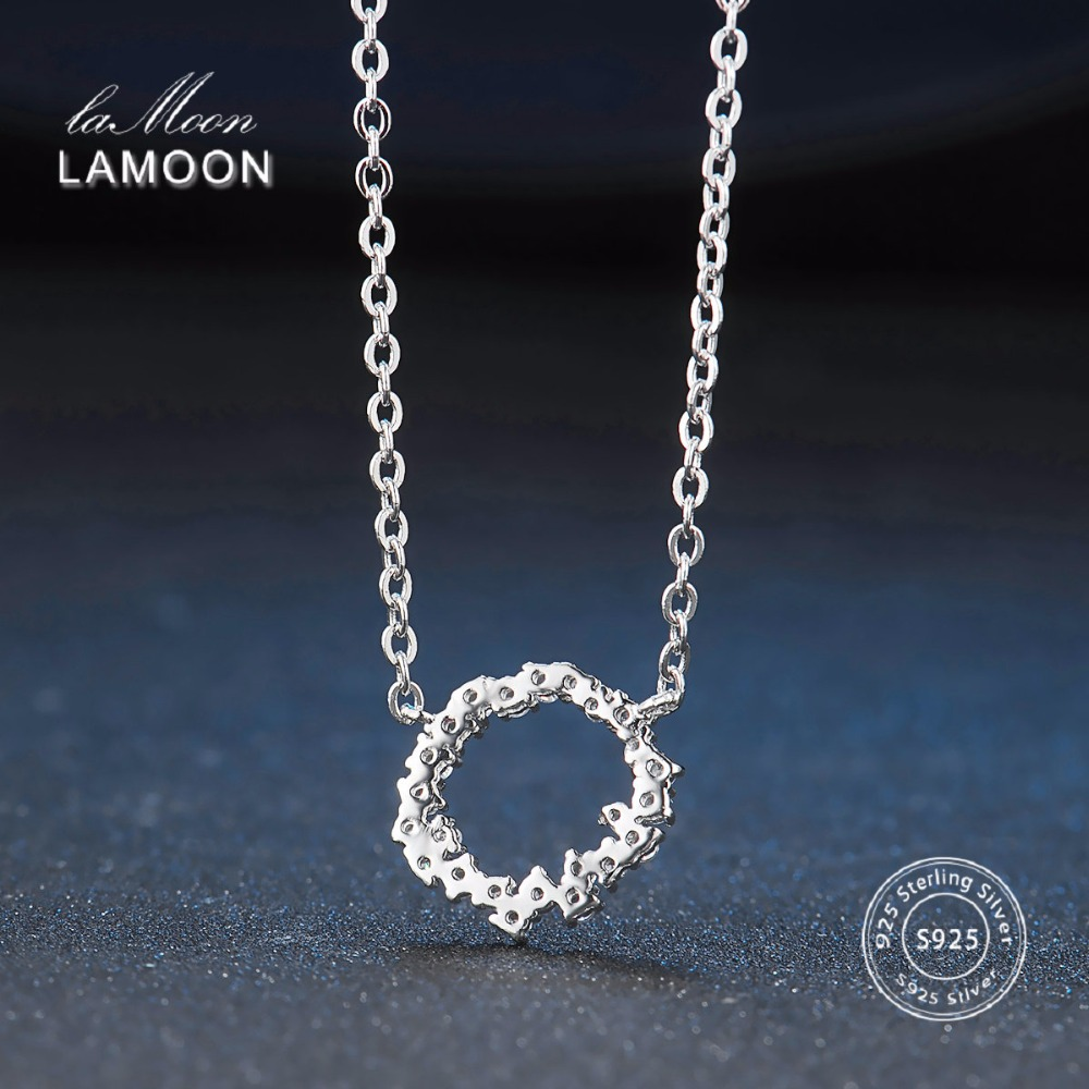 Lamoon 2017 New Circle of Ocean S925 Pendant Necklace 925-Sterling-Silver Fine Jewelry for Women Wedding LMNY065
