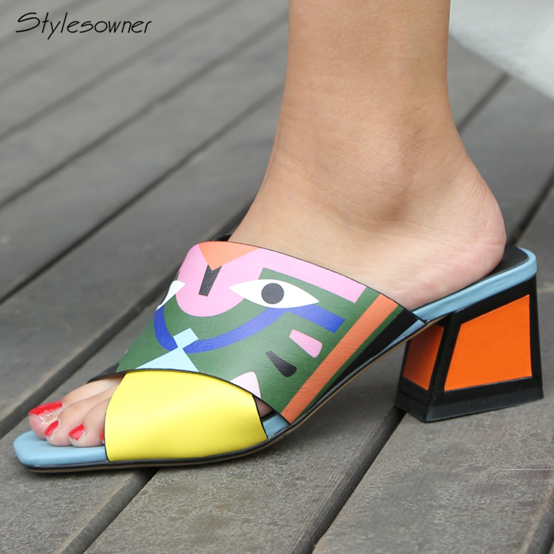 Stylesowner 2018 New Arrival Women Printed Color High Heel Slides Summer Cross Leather Thick Heels Slippers Mixed Color Big Size