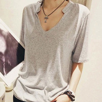 Solid T Shirt Summer Women Top Short Sleeve V Neck Tshirt Casual Loose Style Plus Size