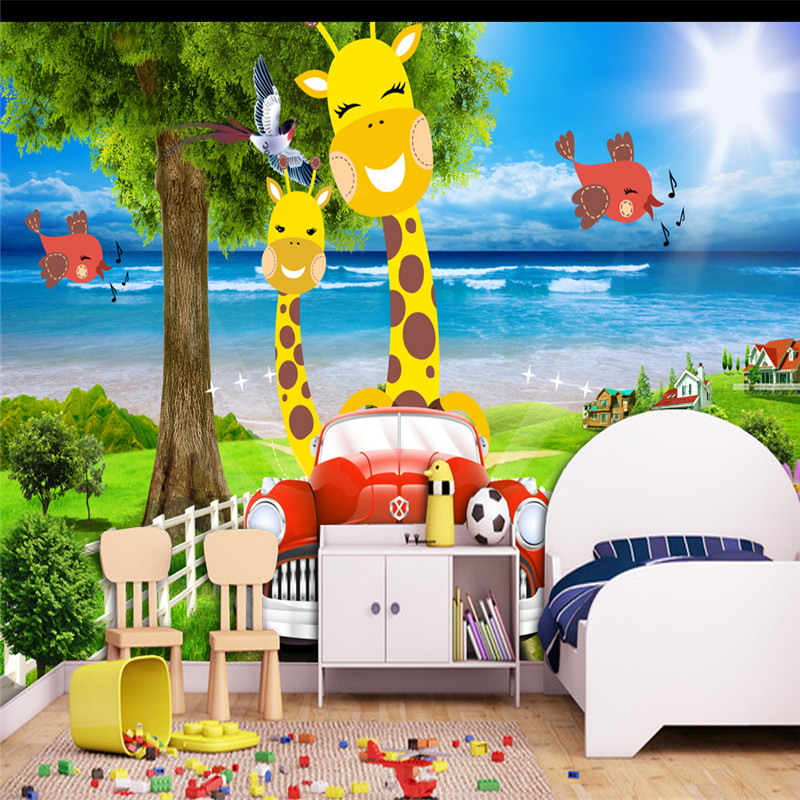 3D Custom Cartoon Pattern Wallpapers Kids Murals for Childrens Room Background Giraffe Car Mural Tree Sea Pictures Walls Paper