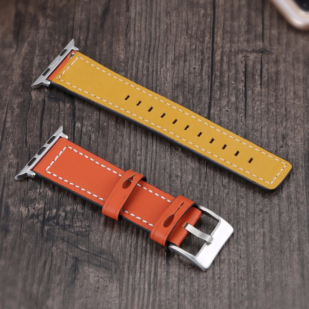 For Apple Watch Band, 42mm Joyozy Genuine Leather iwatch Strap Replacement Band with Stainless Metal Clasp for Apple Watch Serie