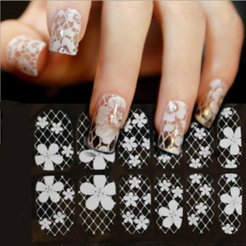 1 arkusz 3D francuski styl biały łuk koronki Nail Art naklejka naklejka Manicure końcówki do paznokci sztuki dekoracji narzędzia