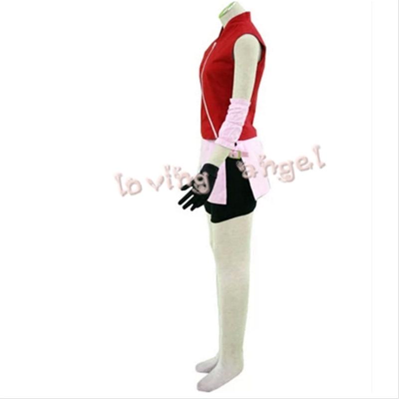 Japanese Anime Naruto Shippuden Haruno Sakura 2nd Cosplay Costume Customized Size Free Shipping