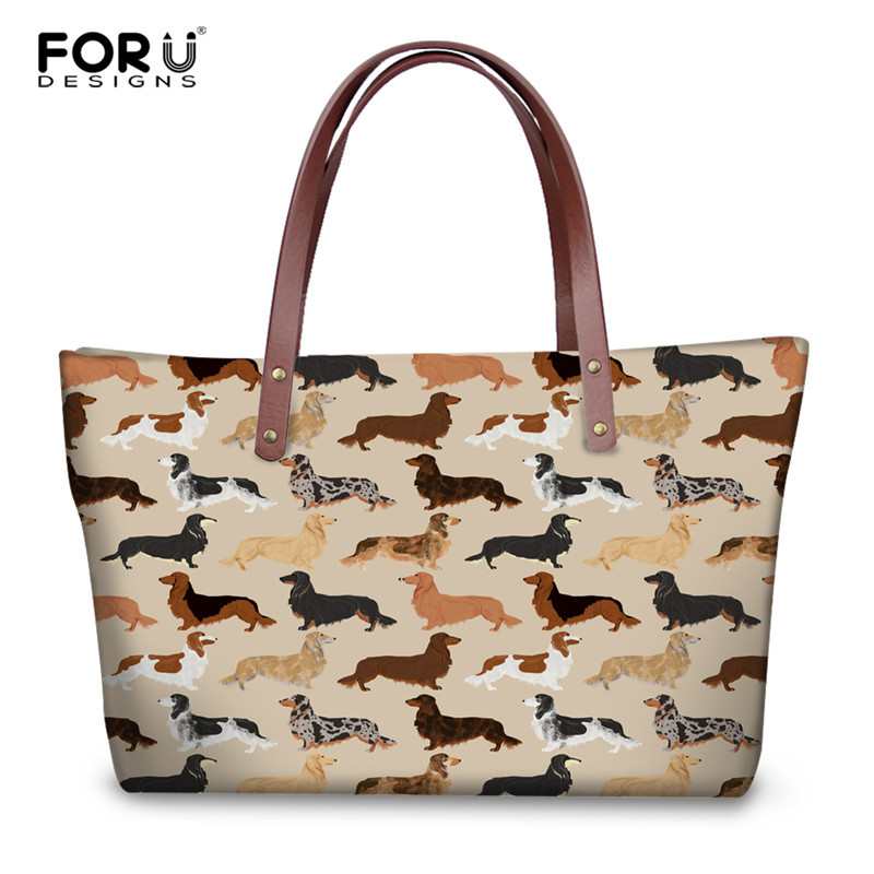 FORUDESIGNS Women Tote Bags Animal Dachshund Dog Pattern Large Handbags for Female Luxury Shopping Bag Youth Girls Casual Bolsa forudesigns casual women handbags peacock feather printed shopping bag large capacity ladies handbags vintage bolsa feminina page 7