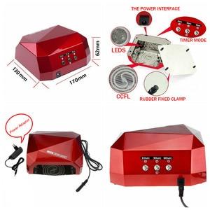 Image 5 - 36W LED CCFL UV tırnak kurutucu elmas şekli kür lambası makinesi için UV jel oje