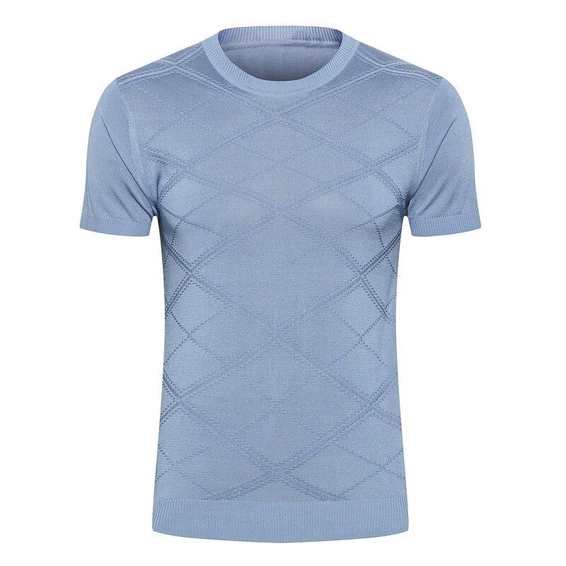 Milliardaire T shirt soie hommes 2019 été nouvelle mode décontracté mince impression élasticité élégant à manches courtes o-cou livraison gratuite