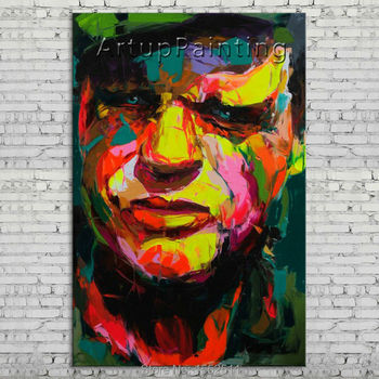 Palette knife portrait Face Oil painting Character figure canva Hand painted Francoise Nielly wall Art picture 06-10-27
