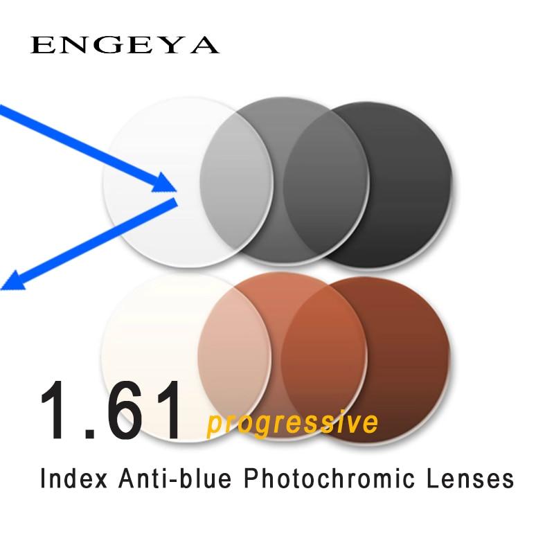 1 61 Progressive Anti Blu Photochromic lenses Near sighted Presbyopic Optical Prescription Lenses