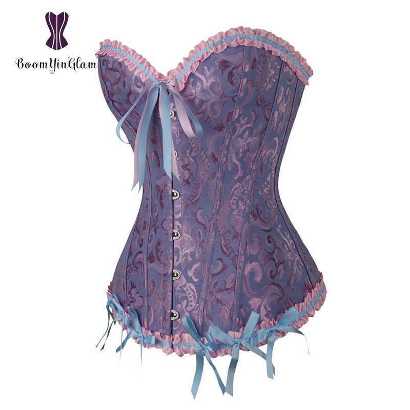 ac34cbacb6 ... Plus Size Body Shapewear Costumes Women lingerie Sexy Pleated Trim Corset  Lace Up Corsets And Bustiers ...