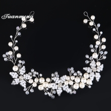 TUANMING Crystal Pearl bridal headbands flower Women wedding Headband bride tiaras hair Accessories hair Jewelry Bridesmaids New