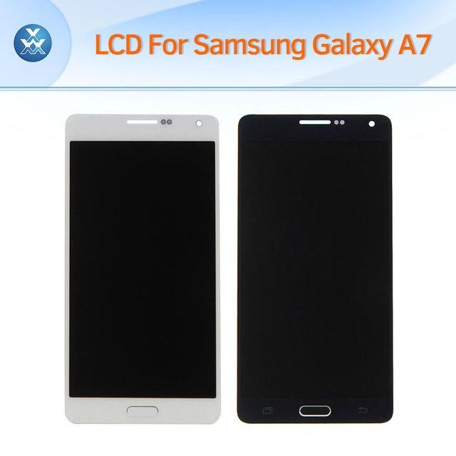 100% original lcd para samsung galaxy a7 2015 a700 a7000 lcd screen display toque digitador de vidro conjunto completo preto branco