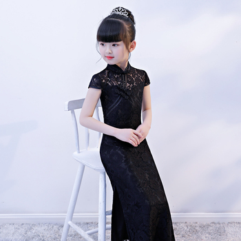 Cheongsam kid Qipao dress prom long elegant dresses formal chinese dresses turtleneck vintage long lace nightgown guzheng dress