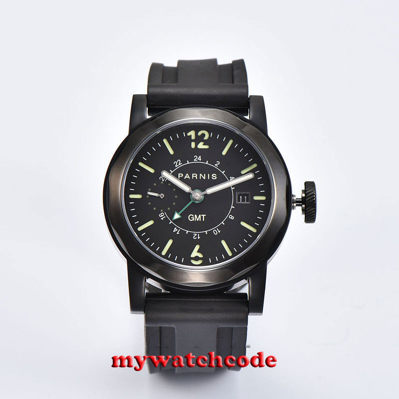 44mm Parnis black sandwich dial Sapphire glass big crown black leather strap PVD case sea-gull GMT Automatic Mens Watch P70944mm Parnis black sandwich dial Sapphire glass big crown black leather strap PVD case sea-gull GMT Automatic Mens Watch P709