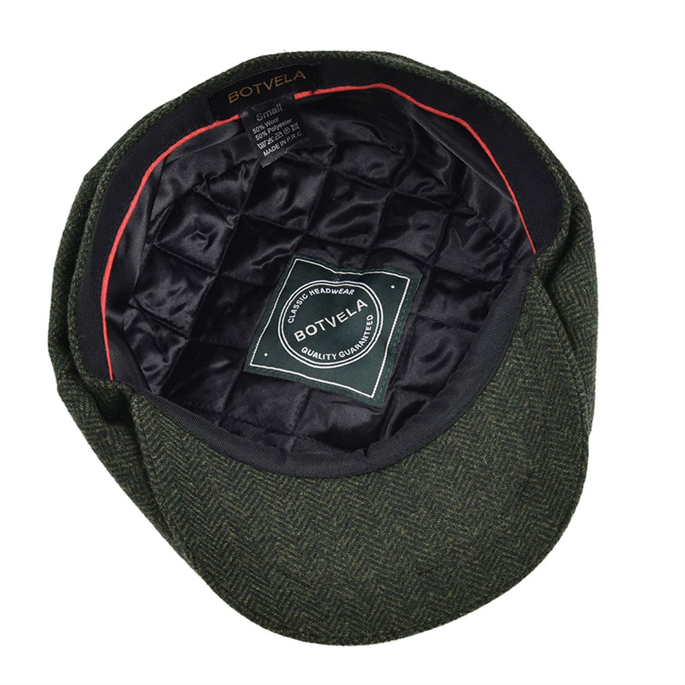 Handmade Wo 8 piece Green Herringbone Newsboy Cap Men 8-Quarter Panel Style  Flat Caps Women Beret Hat 005 Tweed
