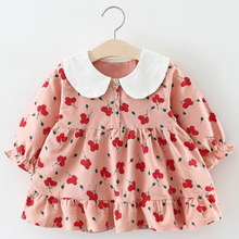 Menoea Baby Girls Dress Spring Autumn Cute Floral Kids Dresses Long Sleeve Solid Princess Dress Casual Kids Pleated Dresses autumn winter girls princess mini dress kids baby girls party wedding pageant long sleeve sweater dresses cute ball kids costume