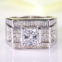 Lingmei Women Fashion Princess Cut White CZ Jewelry White Gold Color Ring Size 6 7 8