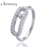 Europe Popular 925 Sterling Silver Move Ring For Women With Zircon Top Quality Love Silver Engagement
