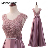 NICEOOXIAO 2018 Elegant Evening Dress Lace Bow knot Long Evening Dress Crystal Sashes Sexy Backless Party Gown Robe De Soiree 69