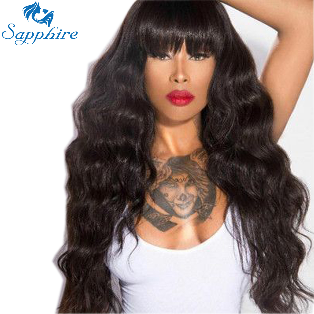 Sapphire Curly Hair Wigs Peruvian Human Hair Wigs With Bangs Remy Baby Hair Full End For
