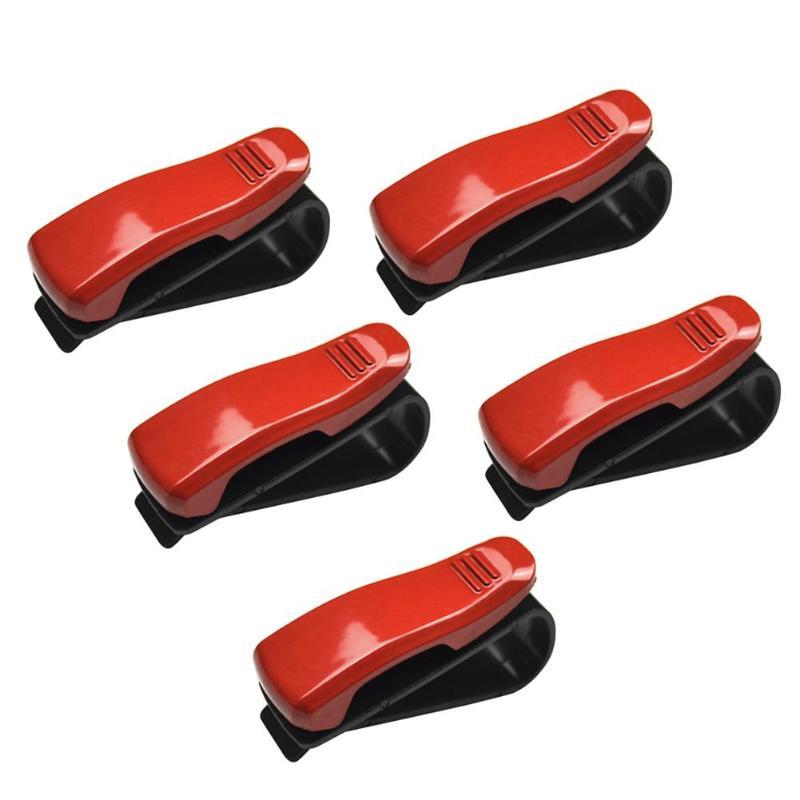 5/10 шт. Универсальный Авто Автомобильный солнцезащитный козырек, очки, солнцезащитные очки для женщин карты квитанции зажимы держателя установлен на солнцезащитном козырьке держать безопасно - Color Name: 5PCS Red