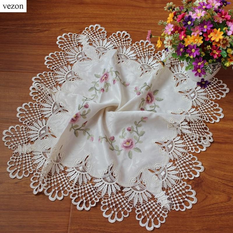 vezon Elegantní satén Cross-Stitch Výšivka Ubrus Čipka Vyšívané Stolní Obálka Utěrky Krycí Krycí Domů Dekorace Textil