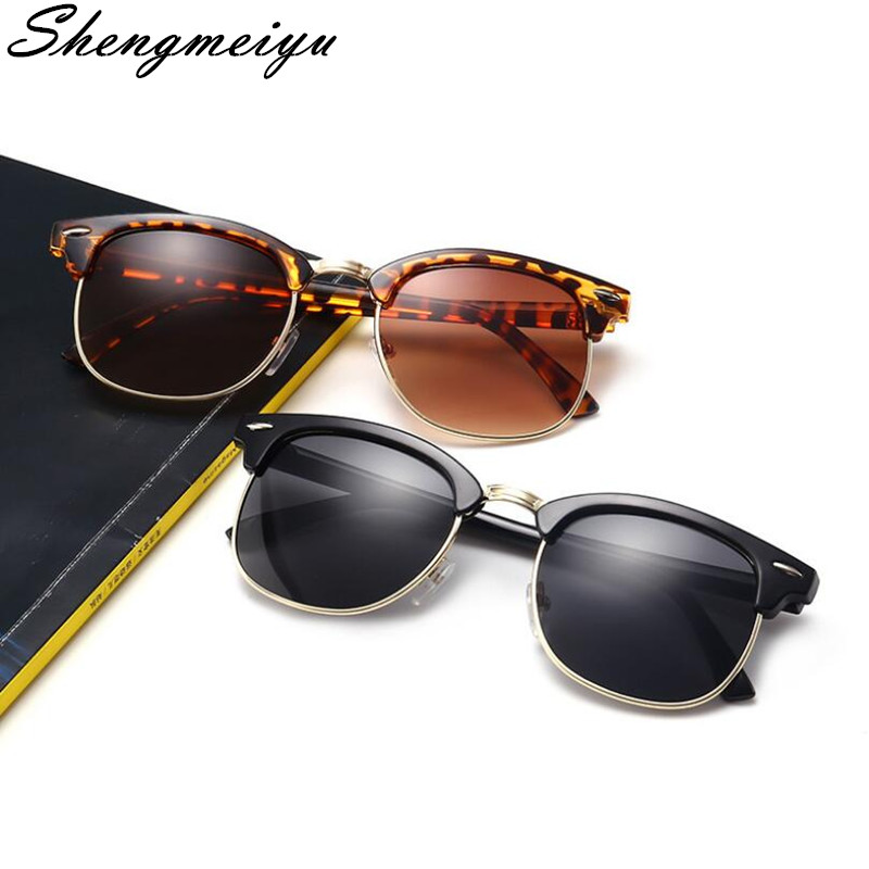 Half Metal Sunglasses Men Women 2018 Brand Designer Eyeglasses Mirror SunGlass Fashion Gafas De Sol Leopard Driving Sun glasses