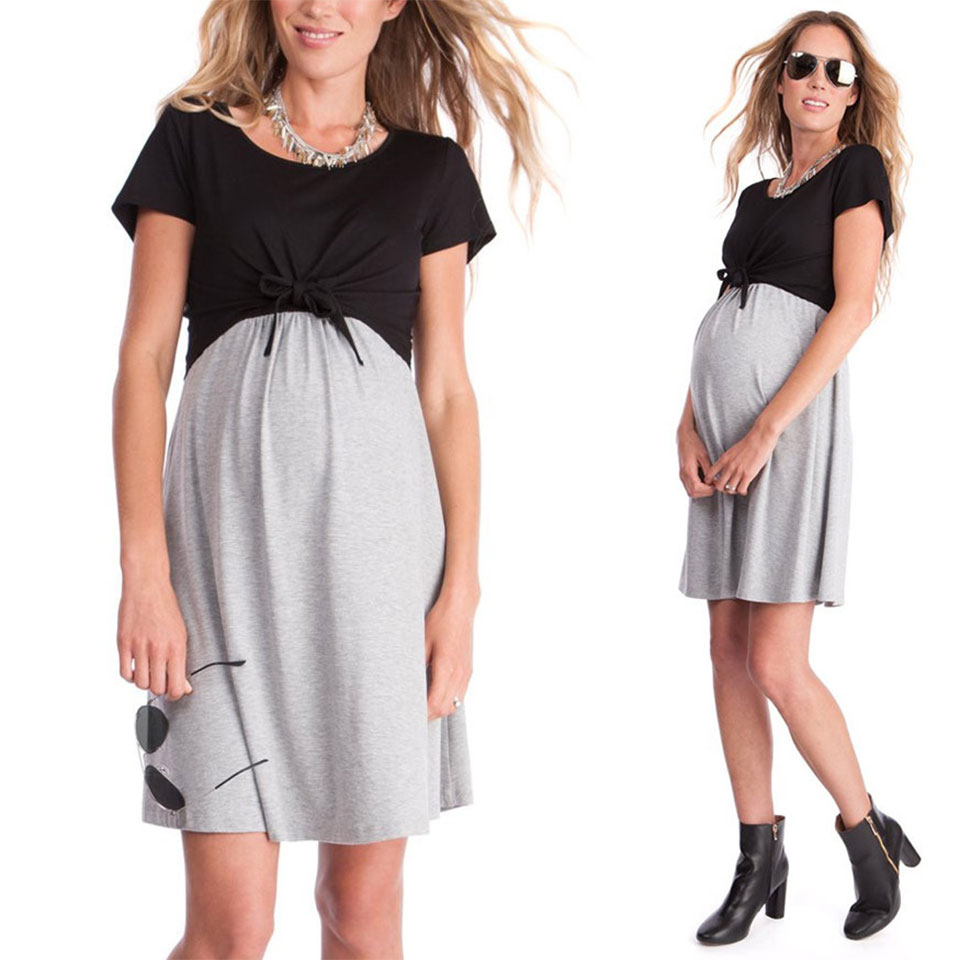 2XL Plus Maternity Nursing Dress Short Sleeve Loose Pregnant Dresses Patchwork Sundress Summer Breastfeeding Pregnant Clothes