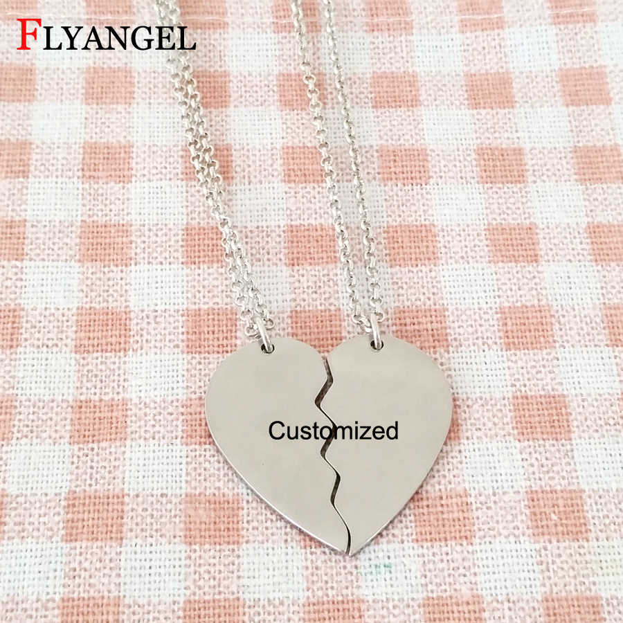 Fashion Customized Name Letter Necklace Broken Heart Couples Friends Necklace For Women Men Jewelry Pendant Chain Necklaces
