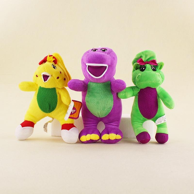 US $12 23 20% OFF|3pcs/lot Dinosaur Barney Plush Toys Cartoon Doll Stuffed  Plush Sucker Pendant Toys 3 Colors Yellow/Green/Purple Barney-in Action &