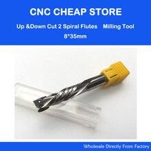 AAA UP& DOWN Cut 8x35 мм две флейты спиральная карбидная мельница инструмент Фрезы ЧПУ фрезерный станок компрессионная деревообрабатывающая фреза