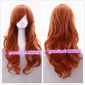 Free Shipping Nami ONE PIECE Long 60cm Orange Curly Cosplay Hair wig Women's Wigs+a wig cap