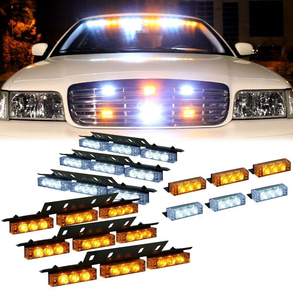 Car LED Flash Light/Strobe Warning Light/Amber Lightbar/Car LED Dash Light Truck Warning Emergency Lightbar With 6 X 9 Leds