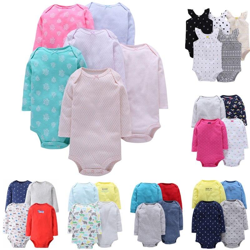 ベビー衣料品セット 4pcs-Pack 長袖ボディスーツ 4-24 ヶ少年少女ソフト綿ボディスーツジャンプスーツベビーセッ