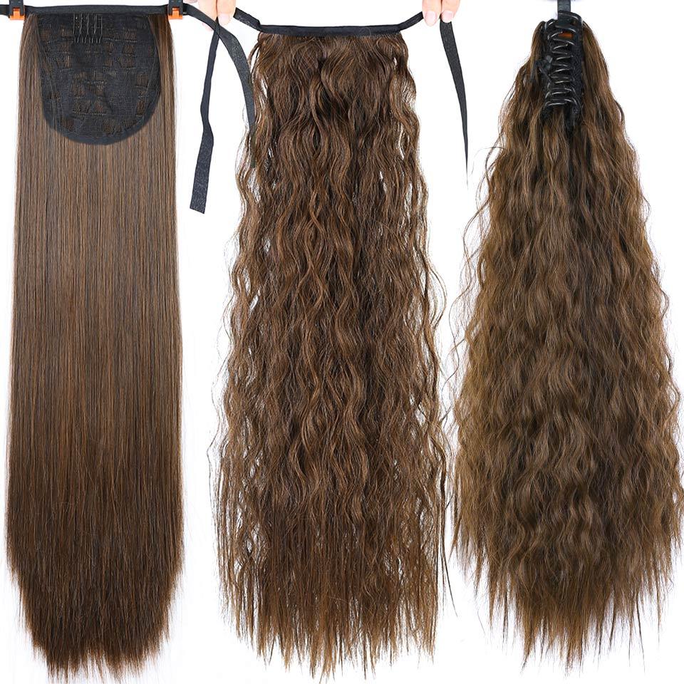 Pageup Longa Sintética Peruca Afro Curly Cordão Rabo de Cavalo Rabo de Cavalo Pedaço de Cabelo para as Mulheres Falso Bun Grampo na Extensão do Cabelo