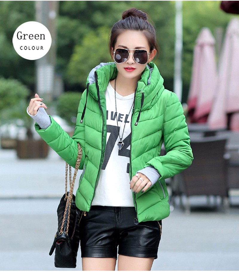 Winter Jacket Women Parkas Thicken Outerwear solid hooded Coats Short 30