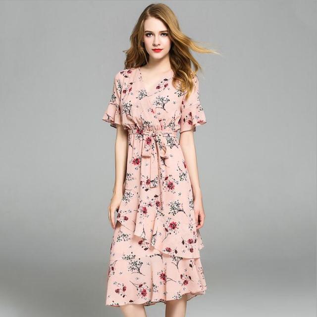 2018 nuevo verano lindo Rosa impreso floral largo Vestidos mujeres ...
