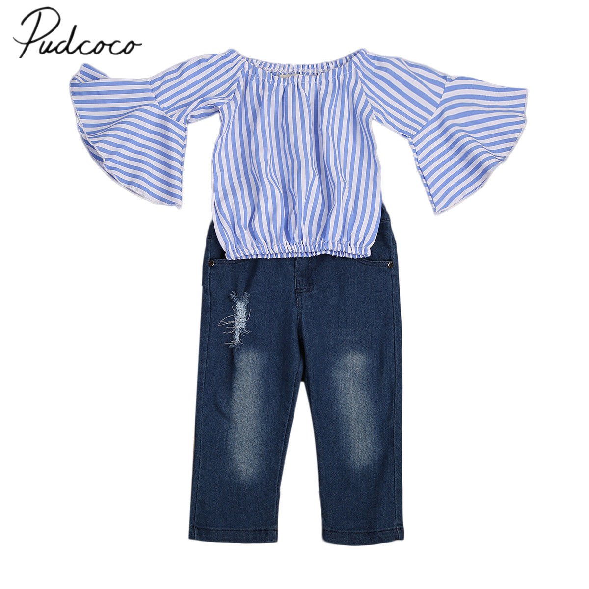 2017 Brand New 2pcs Toddler Infant Kids Baby Girls Outfits Set Striped Top T-shirt Jeans Pants Long Sleeve Autumn Clothes 1-7T