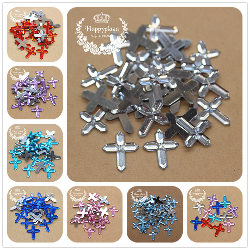 200pcs 12*15mm Acrylic Small Cross Charm Flatback Cabochon Embellishment Accessories DIY Craft Scrapbooking
