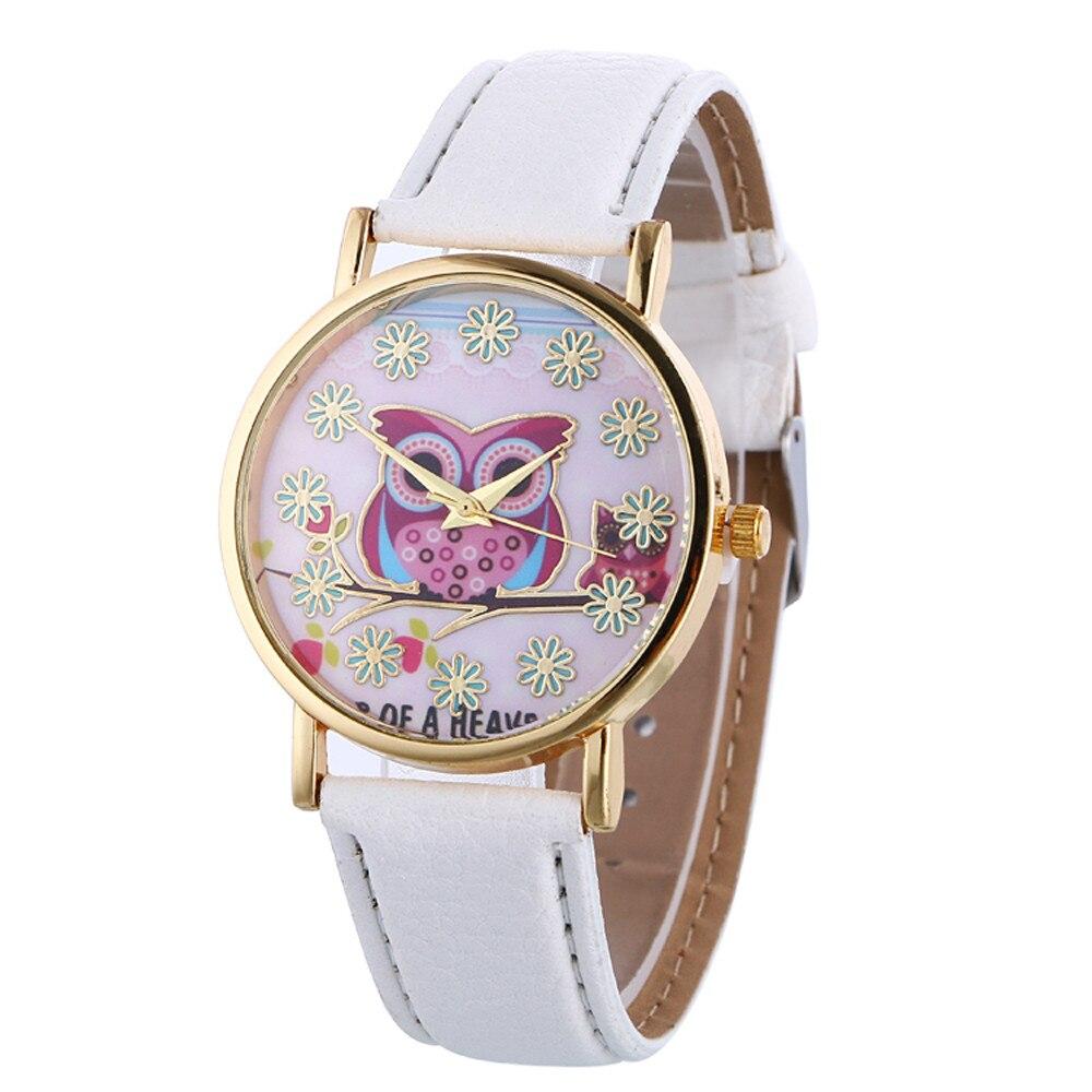 Fashion Women Watch Girls Casual Owl Print Round Dial Ladies Watches Leather Quartz Wrist Watches Gift Clocks Montre Femme #W