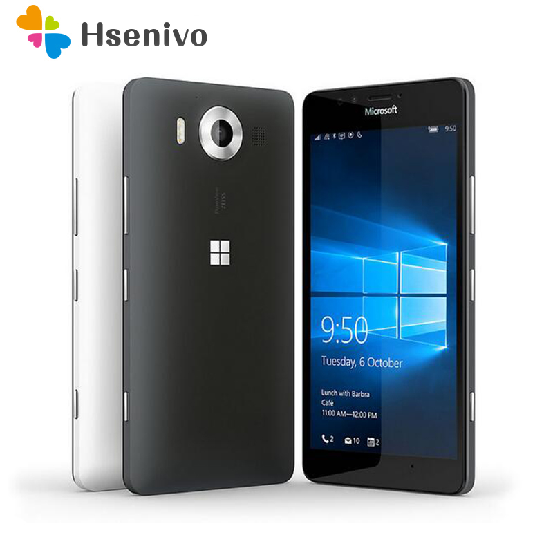 Original Nokia Microsoft Lumia 950 Dual Sim card Windows 10 4G LTE GSM 5.2'20MP WIFI GPS Hexa Core 3GB RAM 32GB ROM Free ship