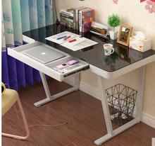 Сталь стеклянный компьютерный стол. Простые современные стол.