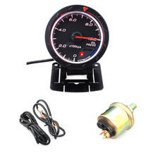 цена на Universal Car Gauge 2.5 Inch 60mm 12V Oil Pressure Gauge Meter With Red & White Lighting