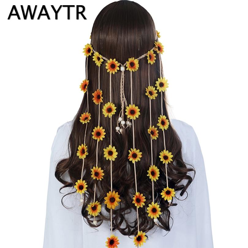 Sun Flowers Headband AWAYTR New Design Head Band For Women Summer Beach Hairbands Spring Headdress Bohemian Hair Accessories