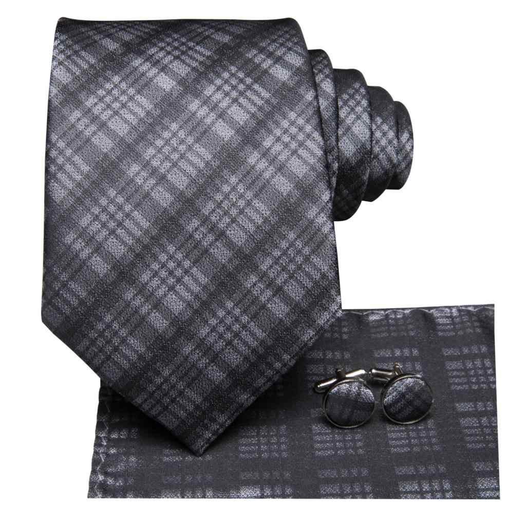 SN-3205 التعادل للرجل 100% رابطة عنق حرير رسمي منقوشة رجال الأعمال التعادل البدلة Cravat حفل زفاف أسود أبيض منديل ربطة العنق مجموعة