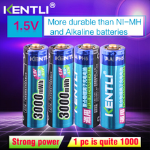 KENTLI 4pcs/lot Stable voltage 3000mWh aa batteries 1.5V  rechargeable battery polymer  lithium li-ion battery for camera  ect цена и фото