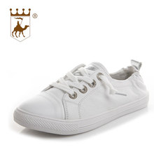 BACKCAMEL 2018 Shoes Woman New Fashion Casual Flat Leather Classic Solid Women Casual Lace-up White Shoes Breathable Size 34-40 2017 new fashion sport casual shoes women white brand classic lattice women shoes flat breathable casual superstar shoes women