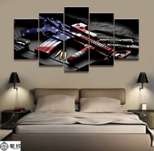 Wall Art Poster Painting Modular Pictures For Living Room Decorative Canvas Printed 5 Panel War Weapon U.S.AM4A1 Musket