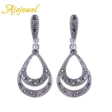 Ajojewel Brand Silver Plated Fashion Waterdrop Crystal Earrings For Women Black Jewelry Drop With Stone